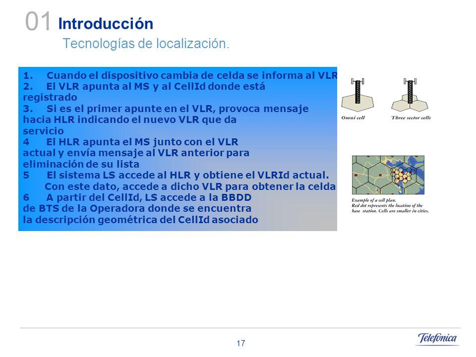 17 Introducción Tecnologías de localización. 01 1.Cuando el dispositivo cambia de celda se informa al VLR 2. El VLR apunta al MS y al CellId donde est