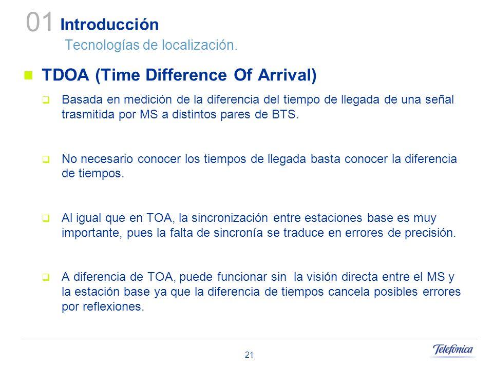 21 Introducción Tecnologías de localización. TDOA (Time Difference Of Arrival) Basada en medición de la diferencia del tiempo de llegada de una señal