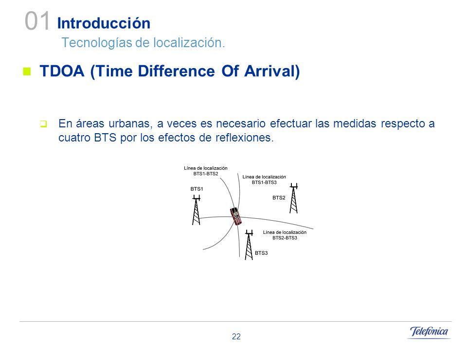 22 Introducción Tecnologías de localización. TDOA (Time Difference Of Arrival) En áreas urbanas, a veces es necesario efectuar las medidas respecto a