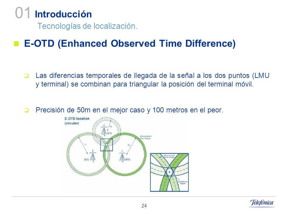 24 Introducción Tecnologías de localización. E-OTD (Enhanced Observed Time Difference) Las diferencias temporales de llegada de la señal a los dos pun