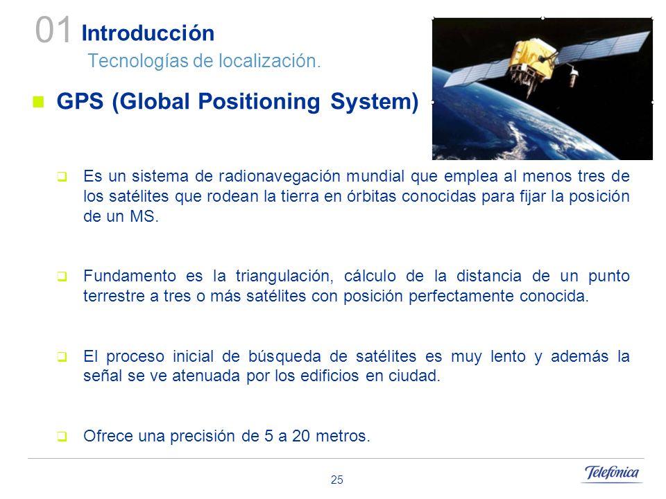 25 Introducción Tecnologías de localización. GPS (Global Positioning System) Es un sistema de radionavegación mundial que emplea al menos tres de los