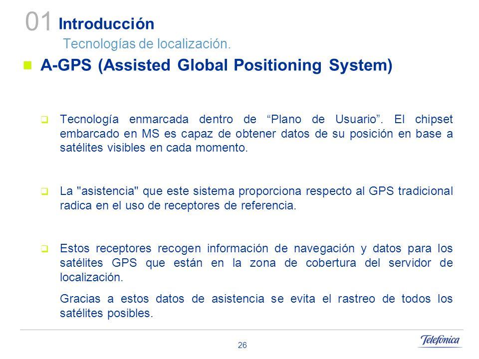 26 Introducción Tecnologías de localización. A-GPS (Assisted Global Positioning System) Tecnología enmarcada dentro de Plano de Usuario. El chipset em