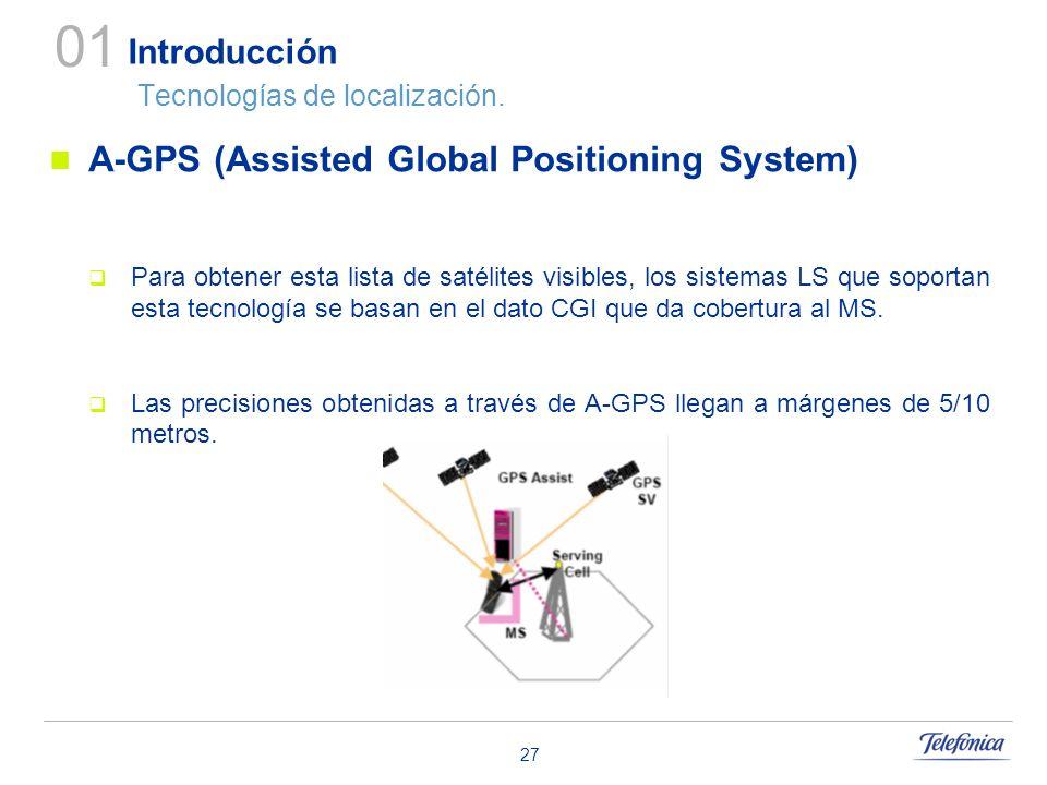 27 Introducción Tecnologías de localización. A-GPS (Assisted Global Positioning System) Para obtener esta lista de satélites visibles, los sistemas LS