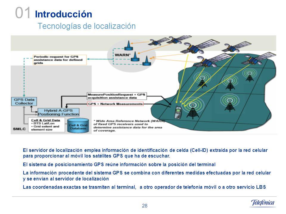 28 Introducción Tecnologías de localización 01 El servidor de localización emplea información de identificación de celda (Cell-ID) extraída por la red