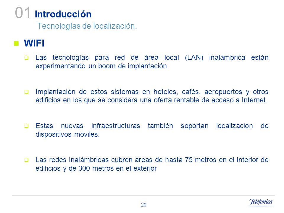 29 Introducción Tecnologías de localización. WIFI Las tecnologías para red de área local (LAN) inalámbrica están experimentando un boom de implantació