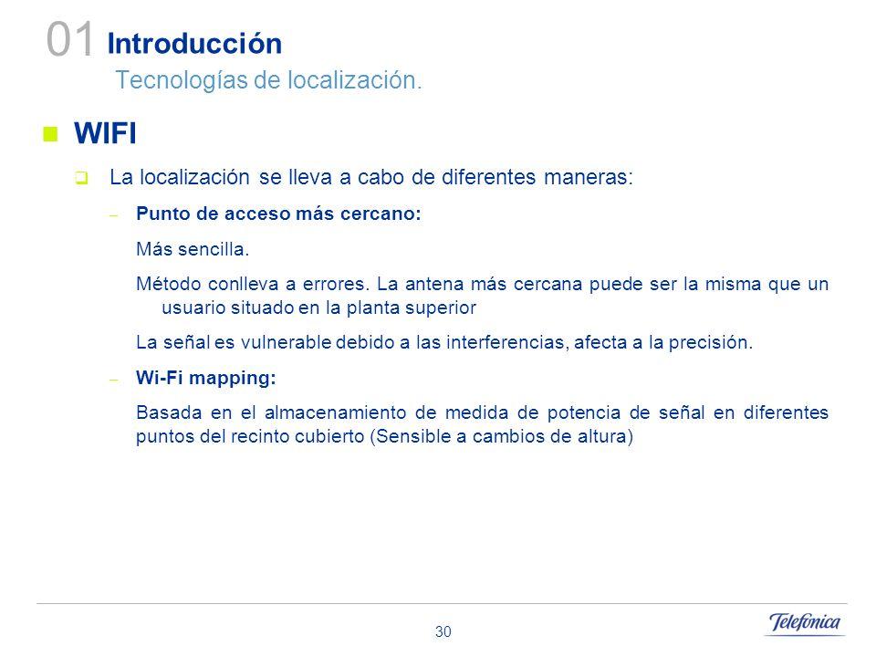 30 Introducción Tecnologías de localización. WIFI La localización se lleva a cabo de diferentes maneras: – Punto de acceso más cercano: Más sencilla.