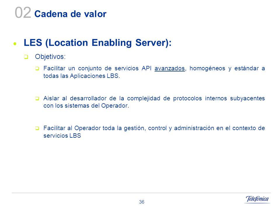 36 Cadena de valor LES (Location Enabling Server): Objetivos: Facilitar un conjunto de servicios API avanzados, homogéneos y estándar a todas las Apli