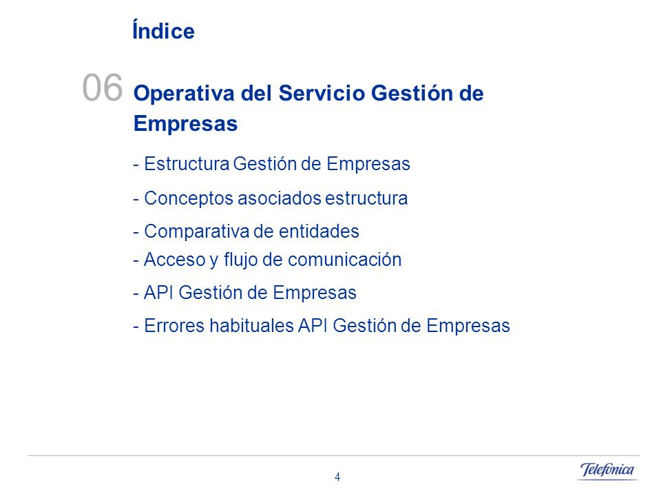 4 06 Operativa del Servicio Gestión de Empresas - Estructura Gestión de Empresas - Conceptos asociados estructura - Comparativa de entidades - Acceso