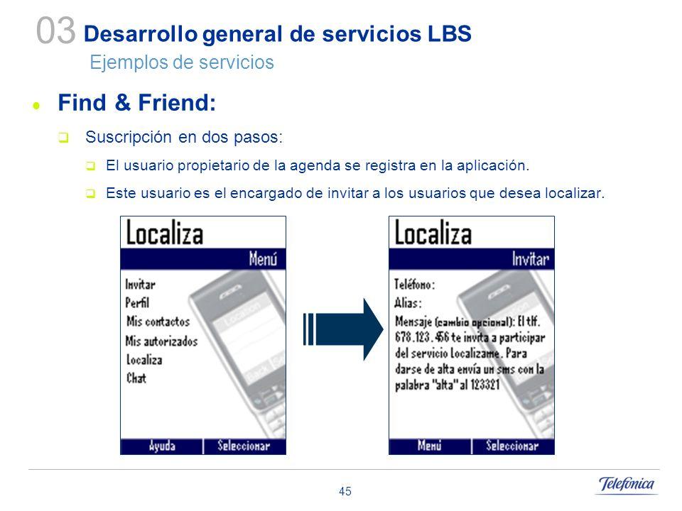 45 Desarrollo general de servicios LBS Ejemplos de servicios Find & Friend: Suscripción en dos pasos: El usuario propietario de la agenda se registra