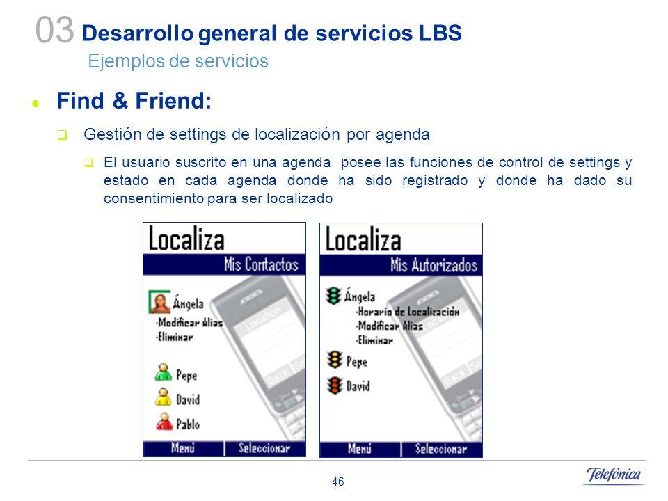 46 Desarrollo general de servicios LBS Ejemplos de servicios Find & Friend: Gesti ó n de settings de localizaci ó n por agenda El usuario suscrito en