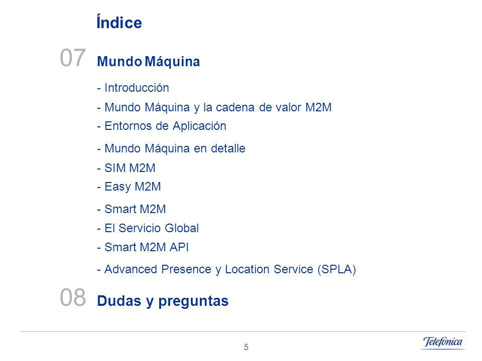 5 07 Mundo Máquina - Introducción - Mundo Máquina y la cadena de valor M2M - Entornos de Aplicación - Mundo Máquina en detalle - SIM M2M - Easy M2M -