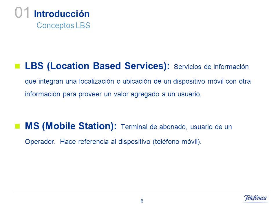 6 Introducción Conceptos LBS LBS (Location Based Services): Servicios de información que integran una localización o ubicación de un dispositivo móvil