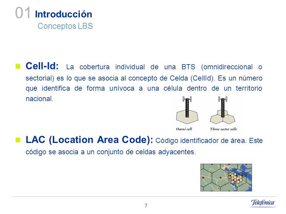 7 Introducción Conceptos LBS Cell-Id: La cobertura individual de una BTS (omnidireccional o sectorial) es lo que se asocia al concepto de Celda (CellI