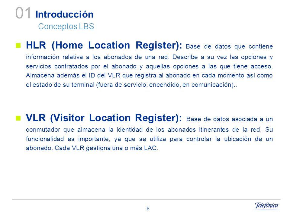 8 Introducción Conceptos LBS HLR (Home Location Register): Base de datos que contiene información relativa a los abonados de una red. Describe a su ve