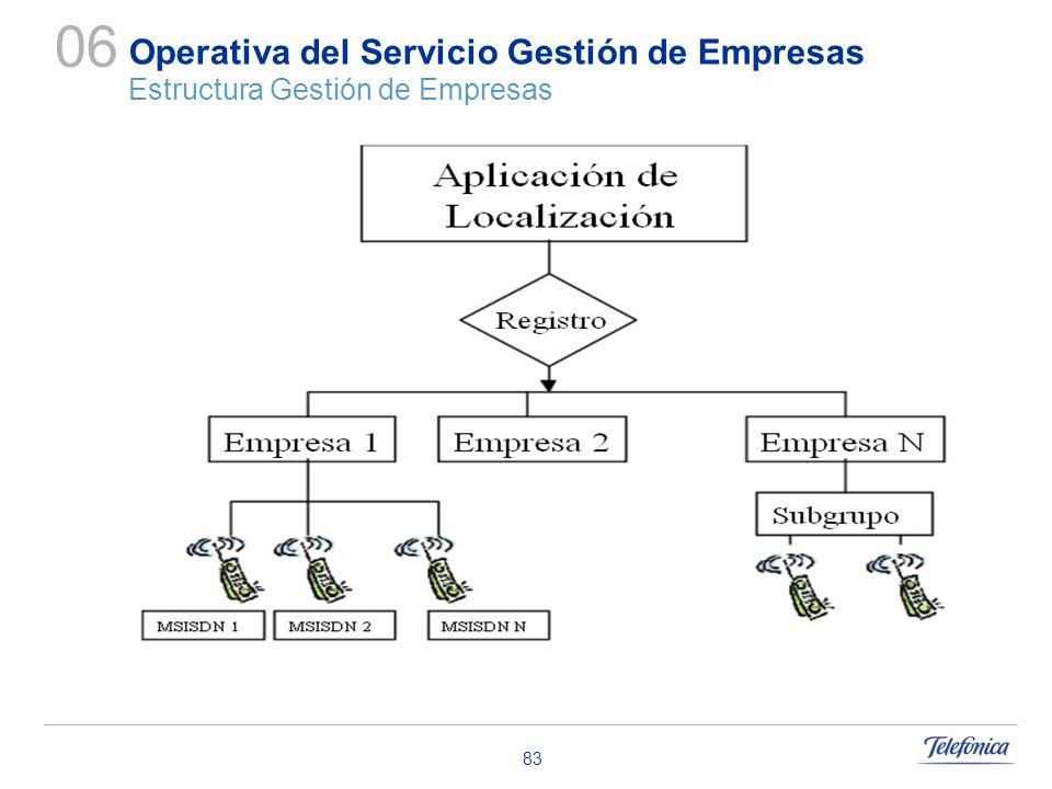 83 Operativa del Servicio Gestión de Empresas Estructura Gestión de Empresas 06