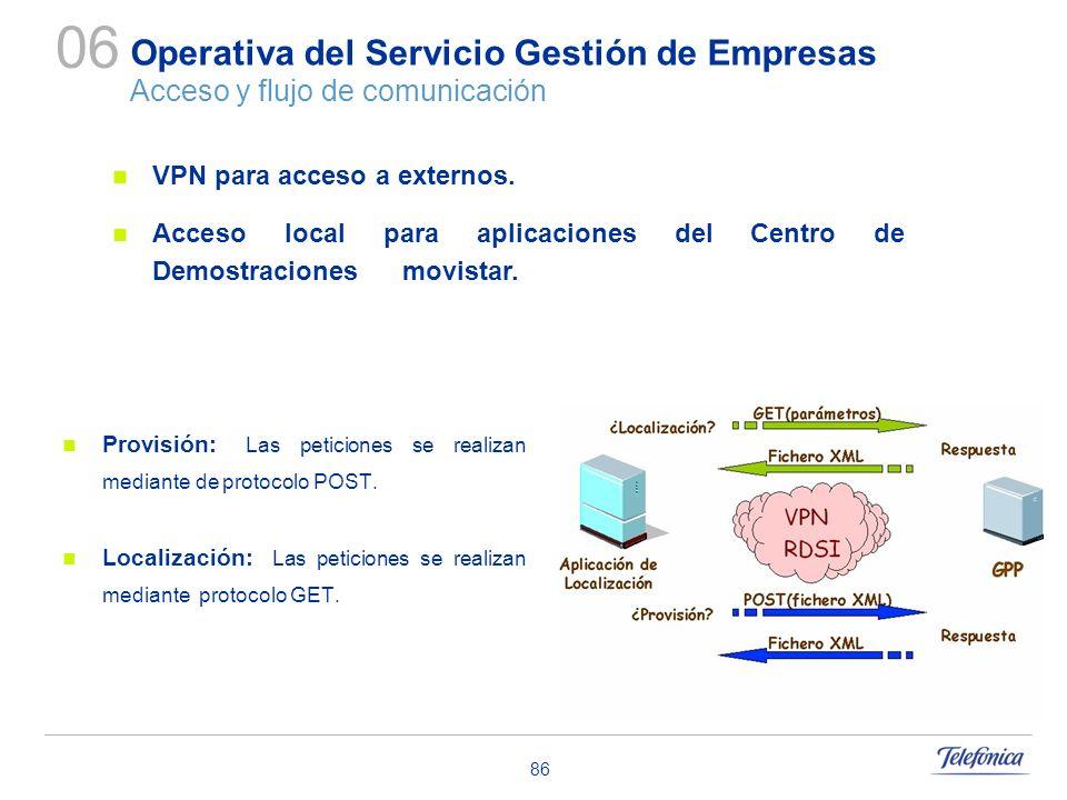 86 Operativa del Servicio Gestión de Empresas Acceso y flujo de comunicación Provisión: Las peticiones se realizan mediante de protocolo POST. Localiz