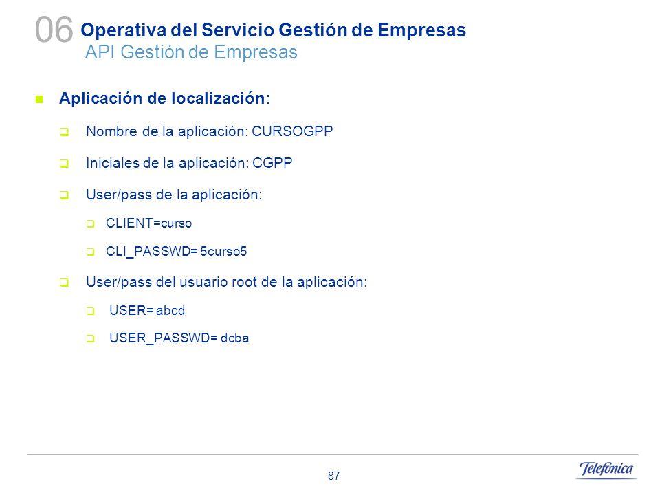 87 Operativa del Servicio Gestión de Empresas API Gestión de Empresas Aplicación de localización: Nombre de la aplicación: CURSOGPP Iniciales de la ap