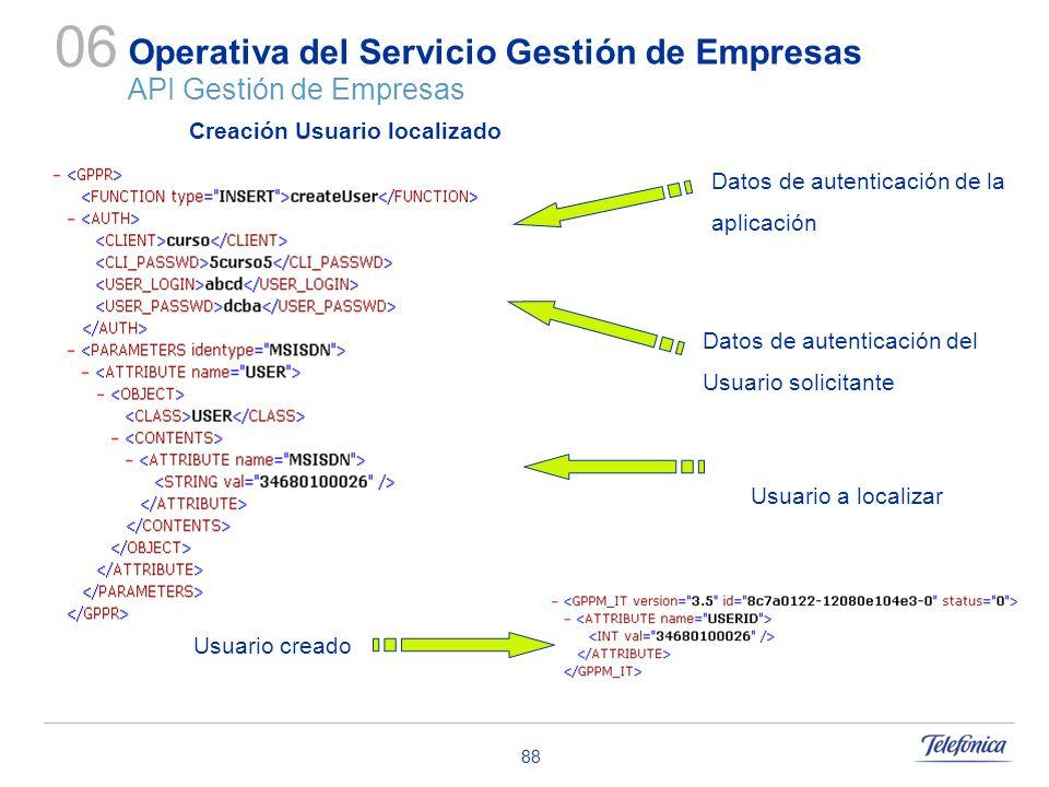 88 Operativa del Servicio Gestión de Empresas API Gestión de Empresas 06 Datos de autenticación de la aplicación Datos de autenticación del Usuario so