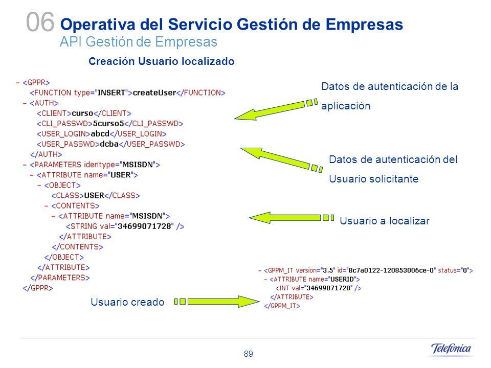 89 Operativa del Servicio Gestión de Empresas API Gestión de Empresas 06 Datos de autenticación de la aplicación Datos de autenticación del Usuario so
