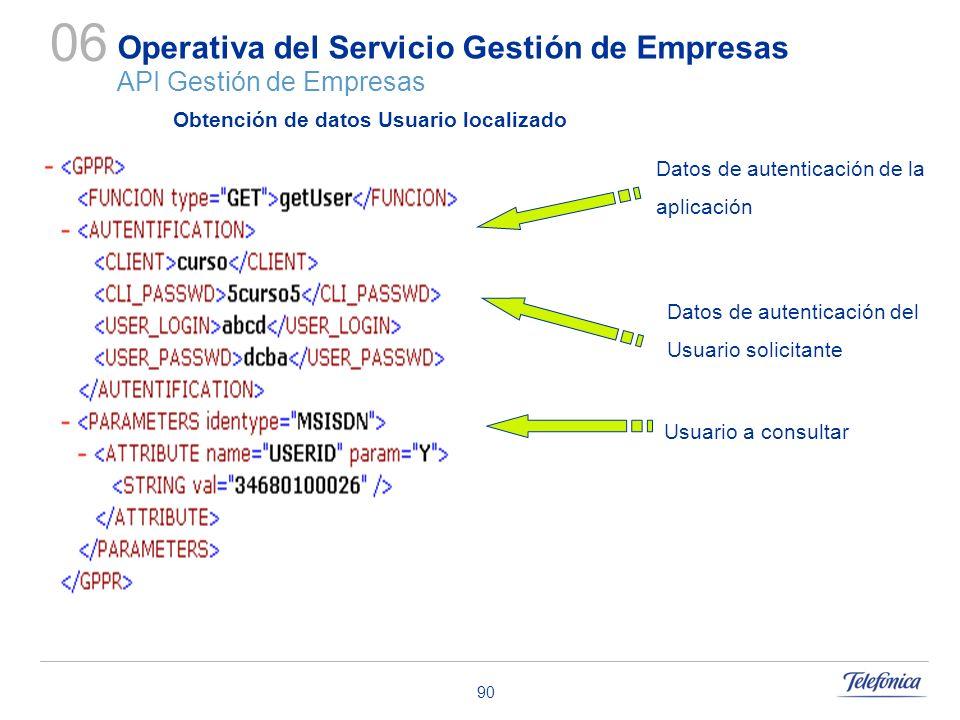 90 Operativa del Servicio Gestión de Empresas API Gestión de Empresas 06 Datos de autenticación de la aplicación Datos de autenticación del Usuario so