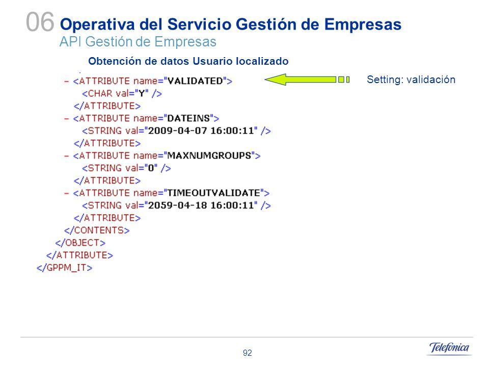 92 Operativa del Servicio Gestión de Empresas API Gestión de Empresas 06 Obtención de datos Usuario localizado Setting: validación