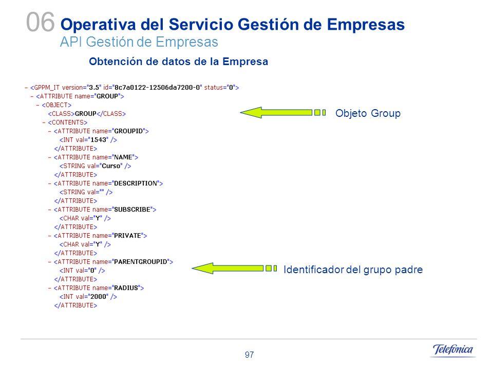 97 Operativa del Servicio Gestión de Empresas API Gestión de Empresas 06 Objeto Group Obtención de datos de la Empresa Identificador del grupo padre