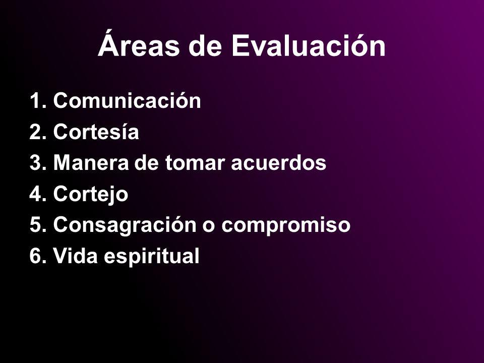 Áreas de Evaluación 1. Comunicación 2. Cortesía 3. Manera de tomar acuerdos 4. Cortejo 5. Consagración o compromiso 6. Vida espiritual