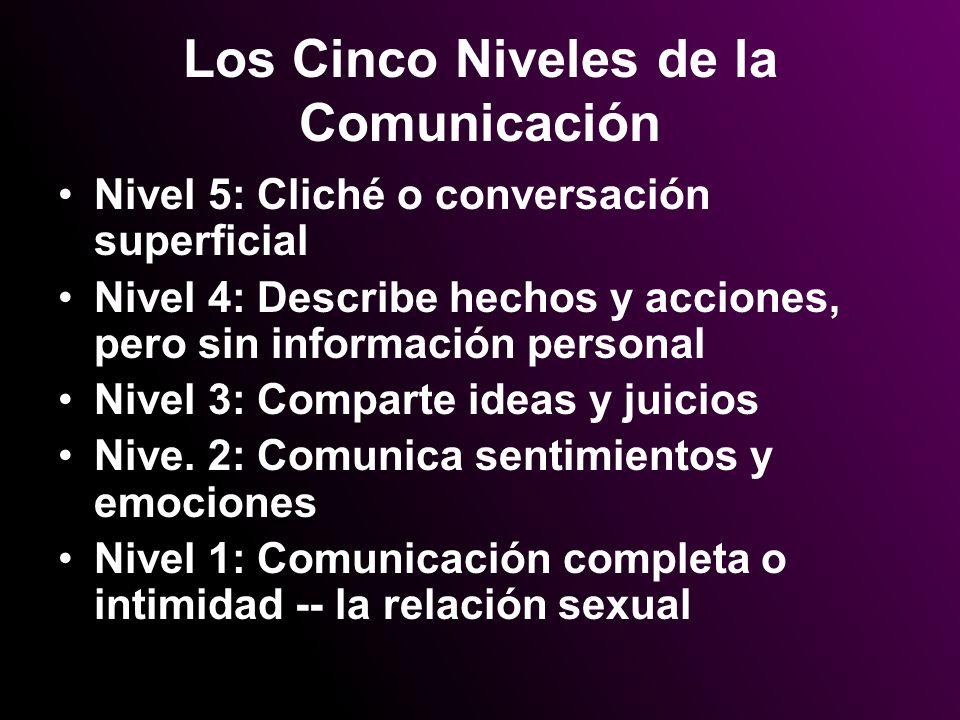 Los Cinco Niveles de la Comunicación Nivel 5: Cliché o conversación superficial Nivel 4: Describe hechos y acciones, pero sin información personal Niv
