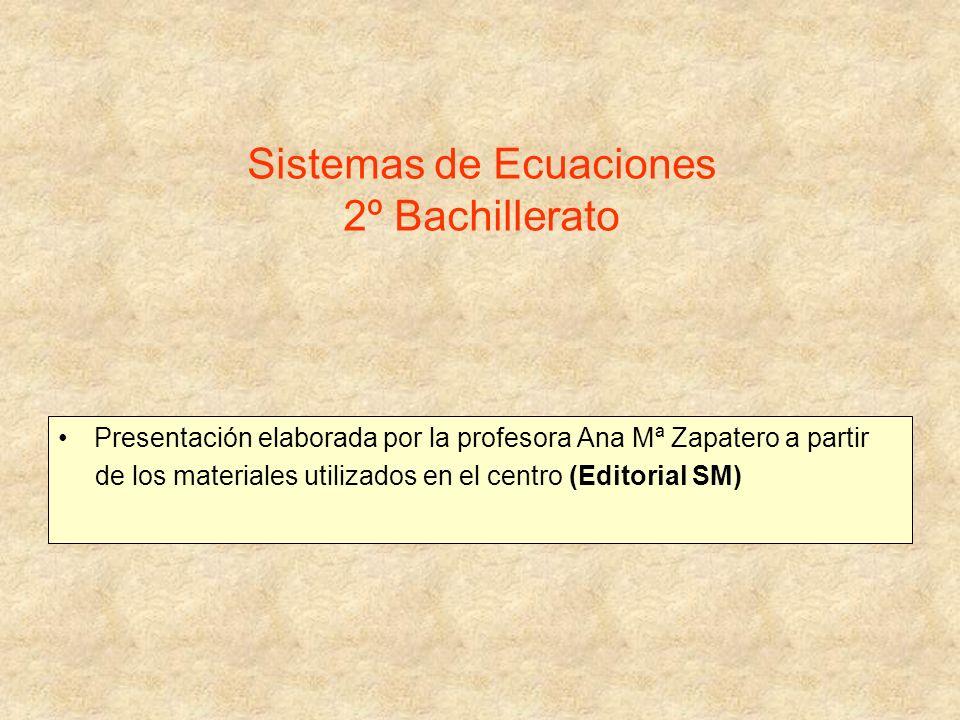 Sistemas de Ecuaciones 2º Bachillerato Presentación elaborada por la profesora Ana Mª Zapatero a partir de los materiales utilizados en el centro (Edi