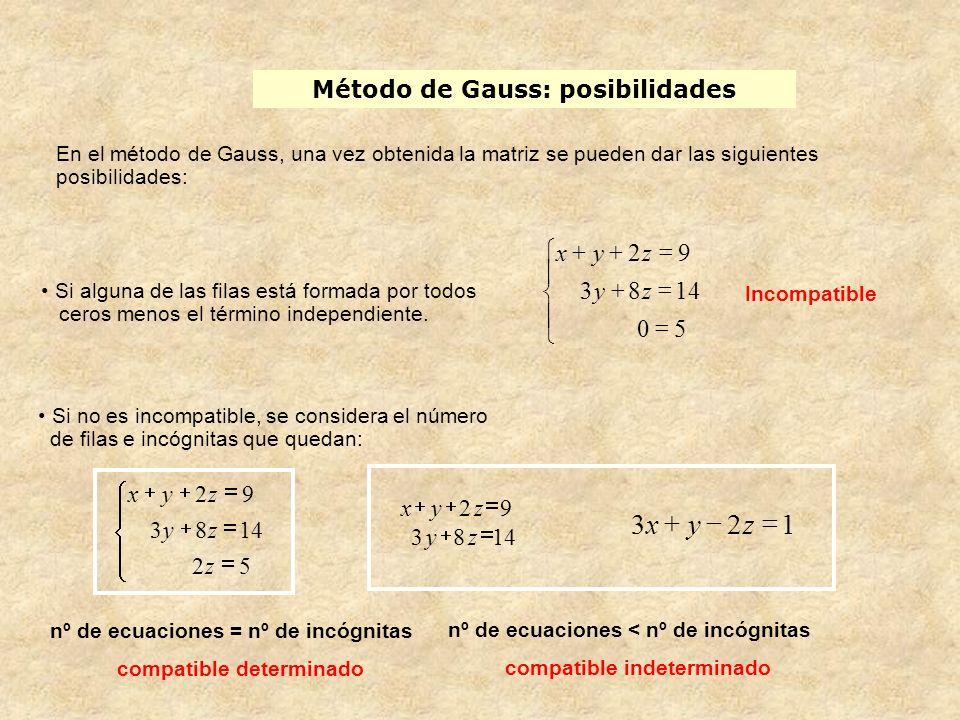 Método de Gauss: posibilidades En el método de Gauss, una vez obtenida la matriz se pueden dar las siguientes posibilidades: Incompatible Si no es inc