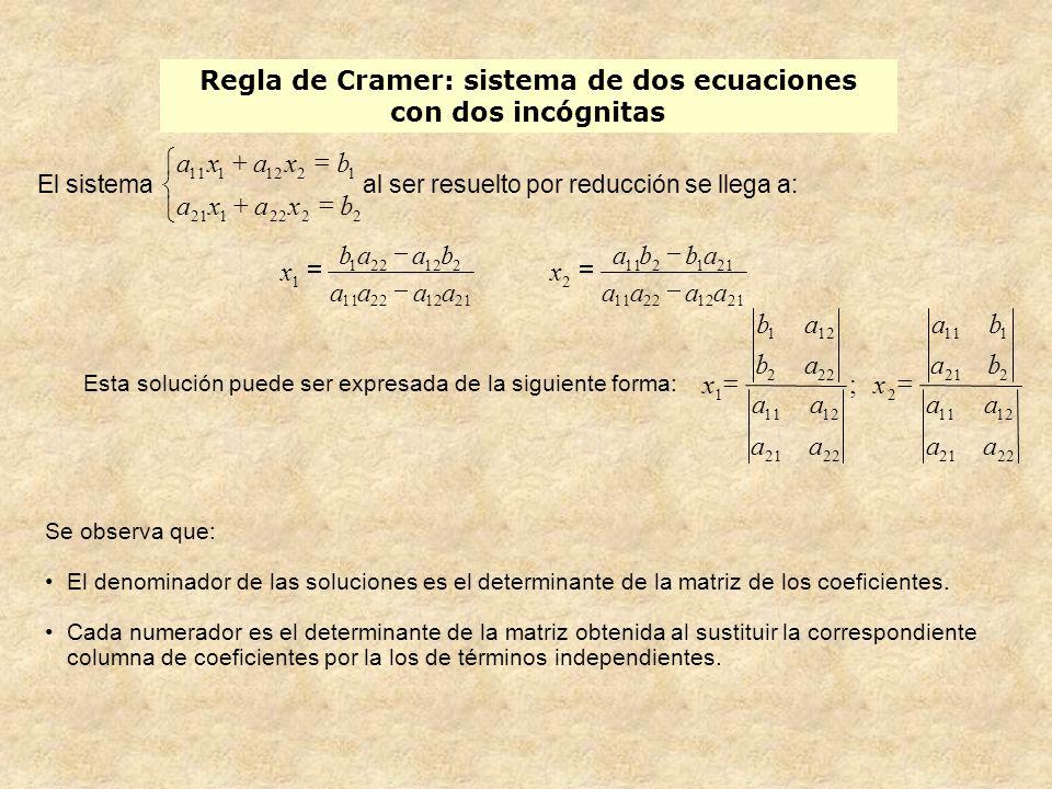 Regla de Cramer: sistema de dos ecuaciones con dos incógnitas Esta solución puede ser expresada de la siguiente forma: Se observa que: El denominador