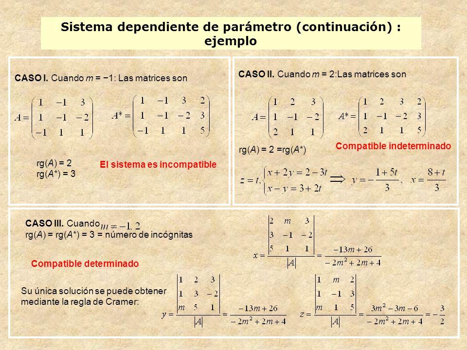 Sistema dependiente de parámetro (continuación) : ejemplo CASO I. Cuando m = 1: Las matrices son rg(A) = 2 rg(A*) = 3 El sistema es incompatible CASO