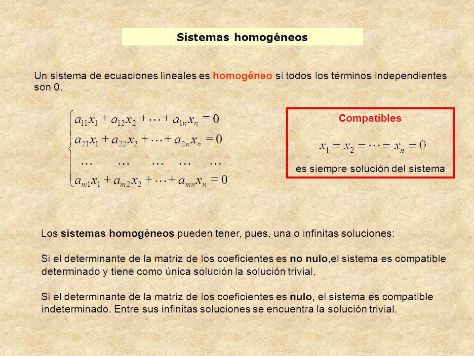 Compatibles es siempre solución del sistema Sistemas homogéneos Un sistema de ecuaciones lineales es homogéneo si todos los términos independientes so