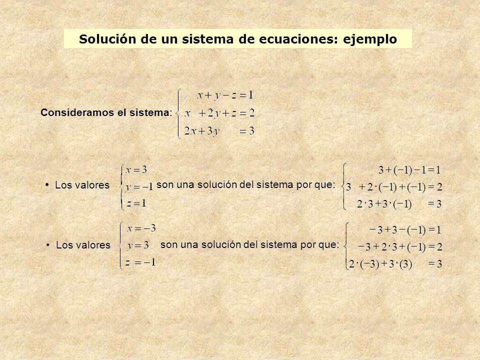 Solución de un sistema de ecuaciones: ejemplo Los valores son una solución del sistema por que: Consideramos el sistema: son una solución del sistema