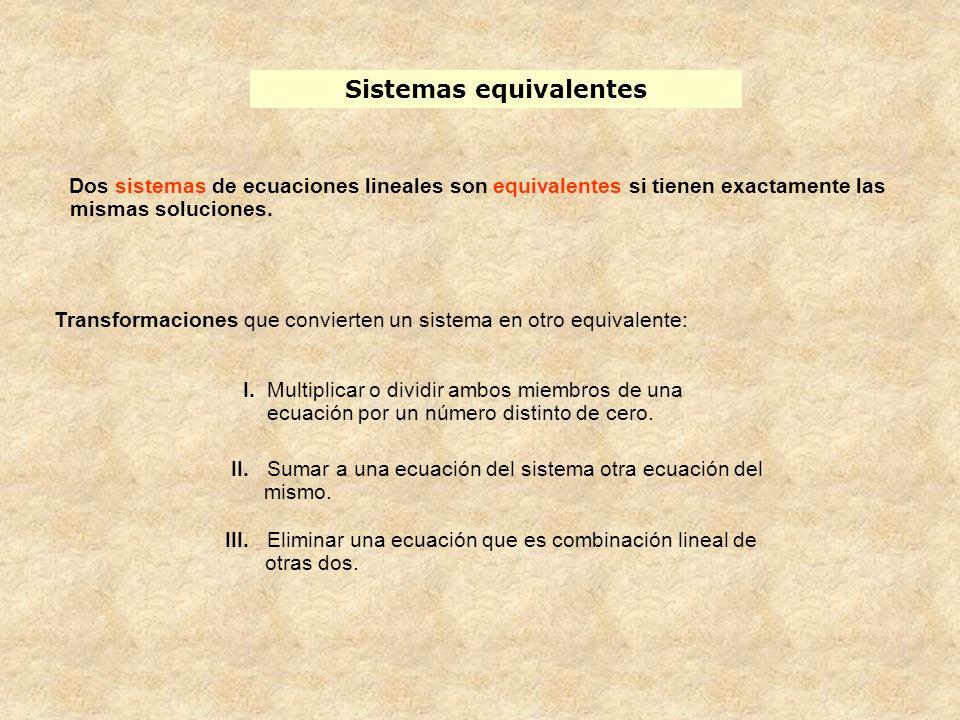 I. Multiplicar o dividir ambos miembros de una ecuación por un número distinto de cero. II. Sumar a una ecuación del sistema otra ecuación del mismo.