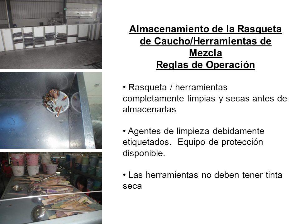 Almacenamiento de la Rasqueta de Caucho/Herramientas de Mezcla Reglas de Operación Rasqueta / herramientas completamente limpias y secas antes de alma