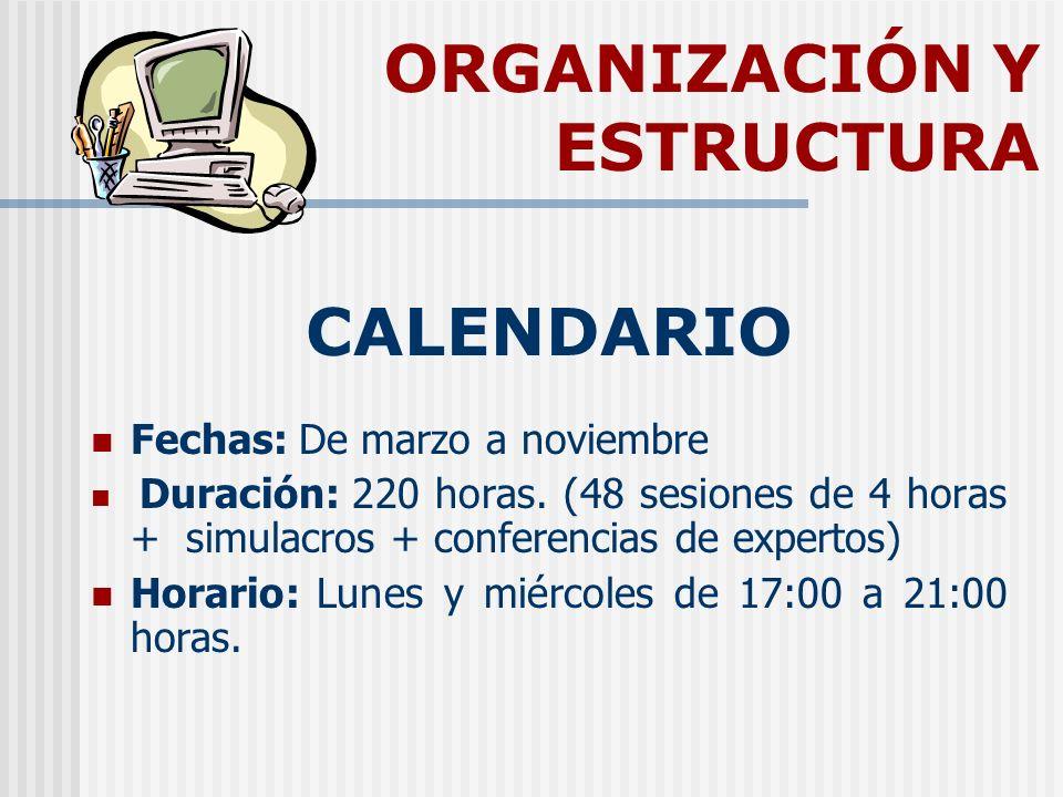 ORGANIZACIÓN Y ESTRUCTURA CALENDARIO Fechas: De marzo a noviembre Duración: 220 horas. (48 sesiones de 4 horas + simulacros + conferencias de expertos