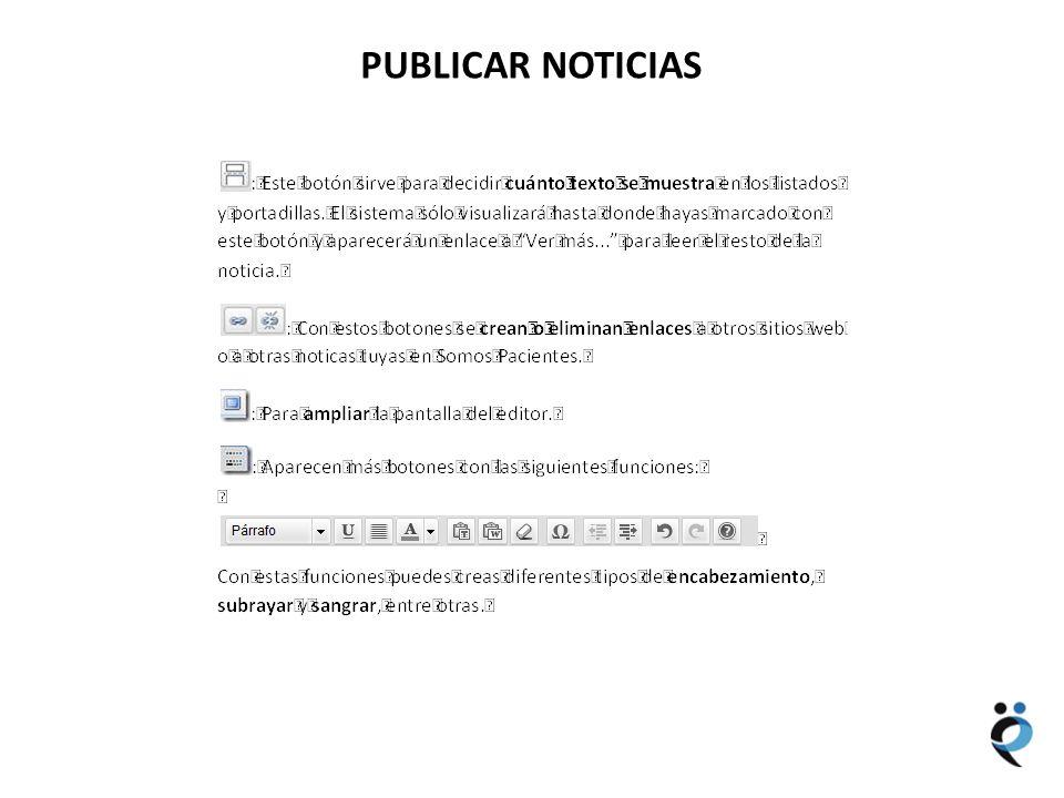 NUEVOS CONTENIDOS PUBLICAR NOTICIAS