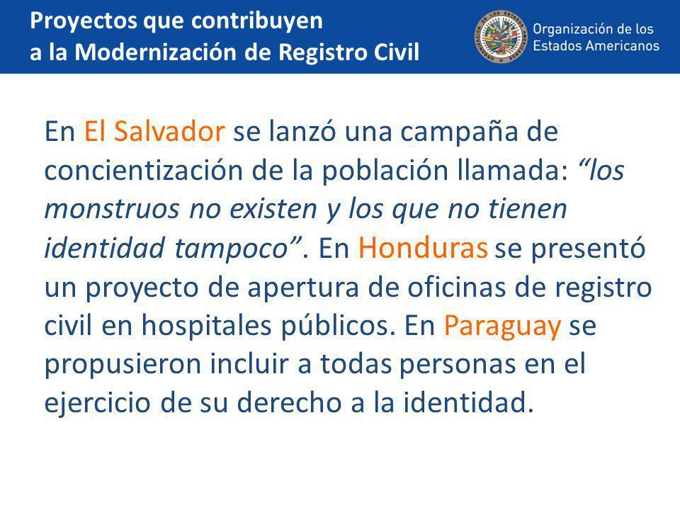 E n Panamá y Uruguay se está implementando un sistema de gestión del registro del estado civil a través de la creación de una base de datos digital, única, de todos los actos y hechos de estado civil de las personas.
