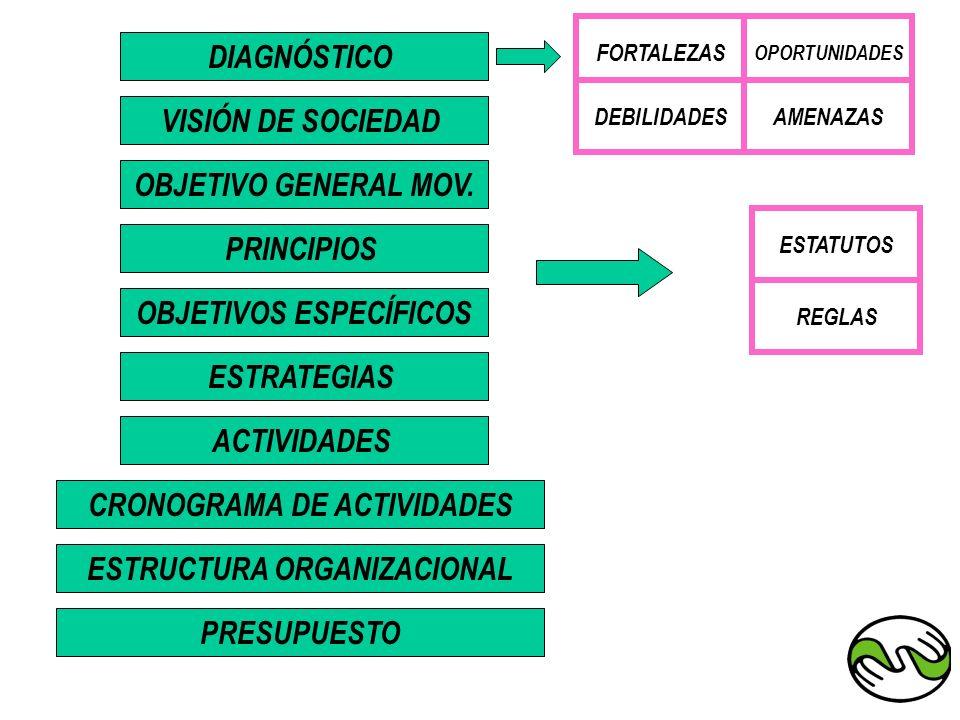 DIAGNÓSTICO OBJETIVOS ESPECÍFICOS PRINCIPIOS OBJETIVO GENERAL MOV. VISIÓN DE SOCIEDAD ACTIVIDADES ESTRATEGIAS ESTRUCTURA ORGANIZACIONAL CRONOGRAMA DE
