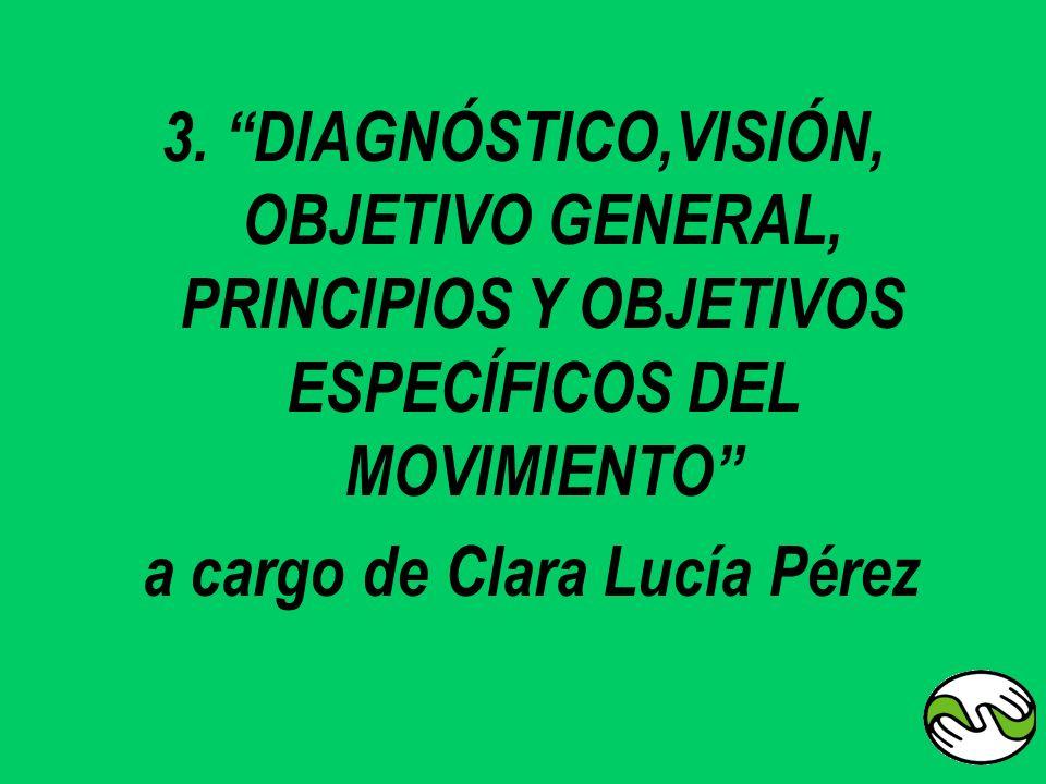 3. DIAGNÓSTICO,VISIÓN, OBJETIVO GENERAL, PRINCIPIOS Y OBJETIVOS ESPECÍFICOS DEL MOVIMIENTO a cargo de Clara Lucía Pérez