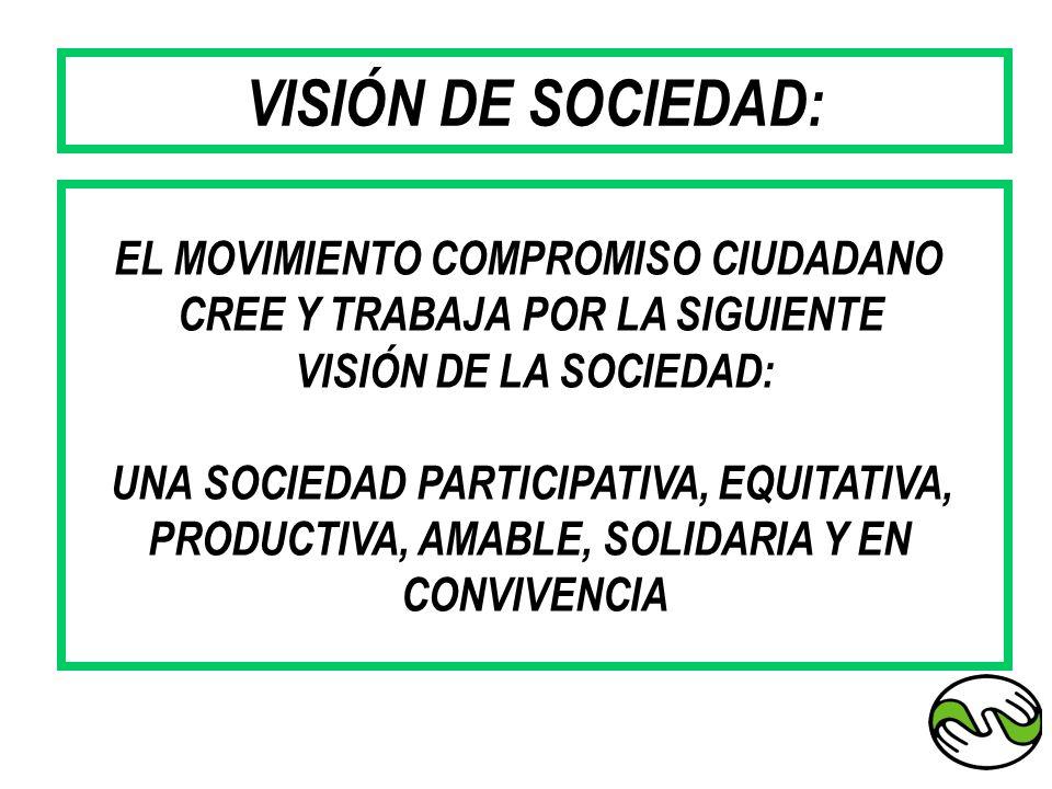 EL MOVIMIENTO COMPROMISO CIUDADANO CREE Y TRABAJA POR LA SIGUIENTE VISIÓN DE LA SOCIEDAD: UNA SOCIEDAD PARTICIPATIVA, EQUITATIVA, PRODUCTIVA, AMABLE,
