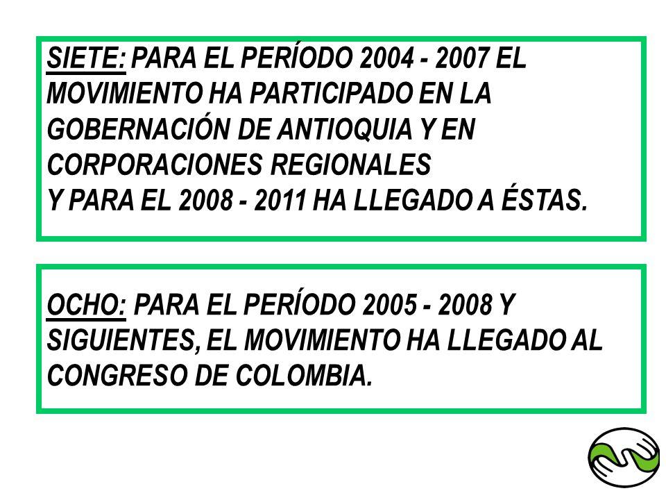 SIETE: PARA EL PERÍODO 2004 - 2007 EL MOVIMIENTO HA PARTICIPADO EN LA GOBERNACIÓN DE ANTIOQUIA Y EN CORPORACIONES REGIONALES Y PARA EL 2008 - 2011 HA