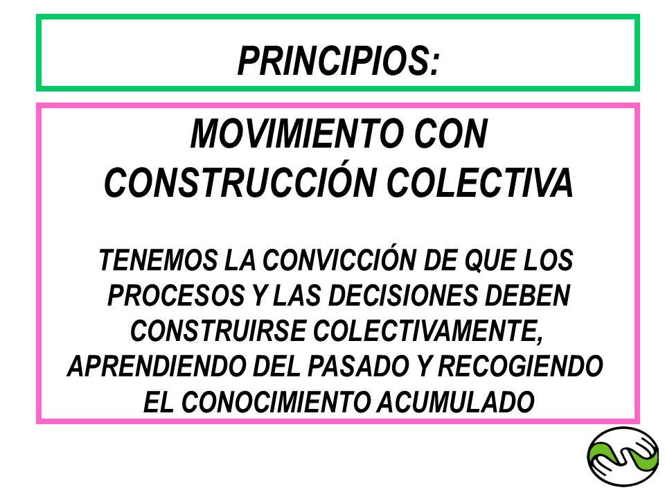 MOVIMIENTO CON CONSTRUCCIÓN COLECTIVA TENEMOS LA CONVICCIÓN DE QUE LOS PROCESOS Y LAS DECISIONES DEBEN CONSTRUIRSE COLECTIVAMENTE, APRENDIENDO DEL PAS