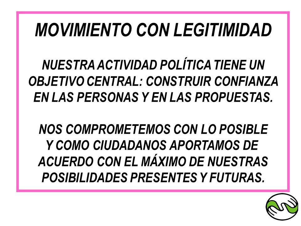 MOVIMIENTO CON LEGITIMIDAD NUESTRA ACTIVIDAD POLÍTICA TIENE UN OBJETIVO CENTRAL: CONSTRUIR CONFIANZA EN LAS PERSONAS Y EN LAS PROPUESTAS. NOS COMPROME