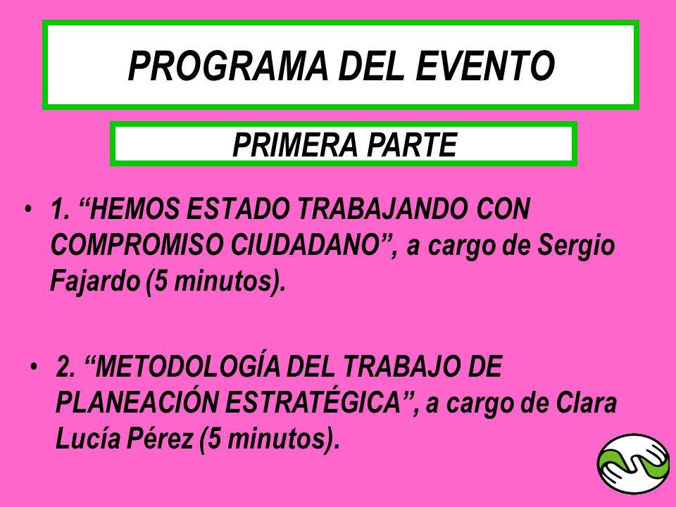 PROGRAMA DEL EVENTO 1. HEMOS ESTADO TRABAJANDO CON COMPROMISO CIUDADANO, a cargo de Sergio Fajardo (5 minutos). 2. METODOLOGÍA DEL TRABAJO DE PLANEACI