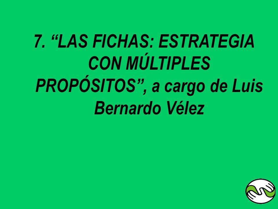 7. LAS FICHAS: ESTRATEGIA CON MÚLTIPLES PROPÓSITOS, a cargo de Luis Bernardo Vélez