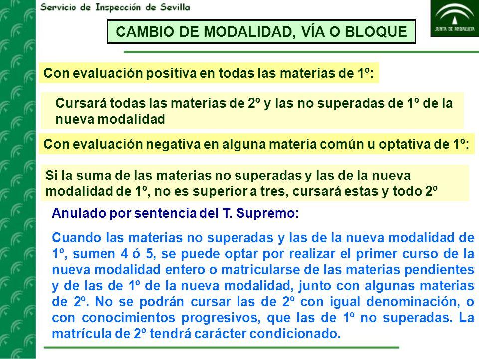 CAMBIO DE MODALIDAD, VÍA O BLOQUE Con evaluación positiva en todas las materias de 1º: Cursará todas las materias de 2º y las no superadas de 1º de la
