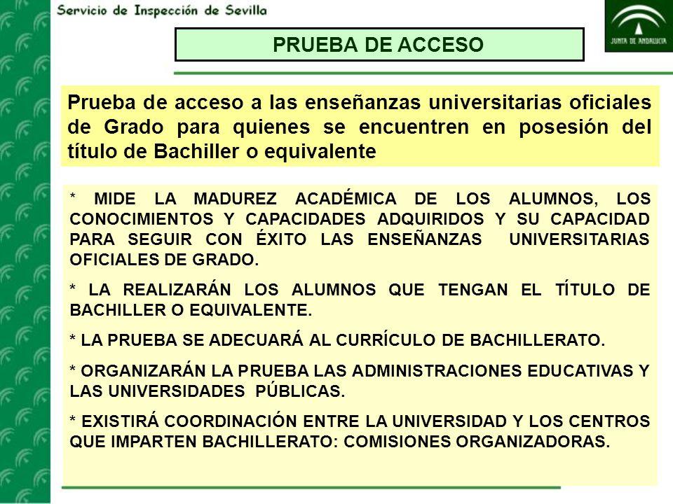 PRUEBA DE ACCESO Prueba de acceso a las enseñanzas universitarias oficiales de Grado para quienes se encuentren en posesión del título de Bachiller o