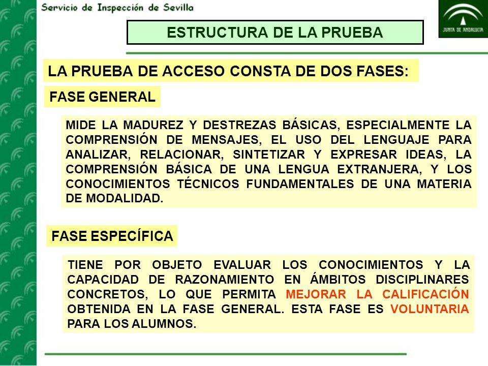ESTRUCTURA DE LA PRUEBA LA PRUEBA DE ACCESO CONSTA DE DOS FASES: MIDE LA MADUREZ Y DESTREZAS BÁSICAS, ESPECIALMENTE LA COMPRENSIÓN DE MENSAJES, EL USO